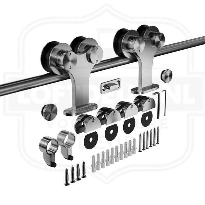 RVS Dubbel schuifdeursysteem - Roestvrij staal - Modern schuifdeursysteem