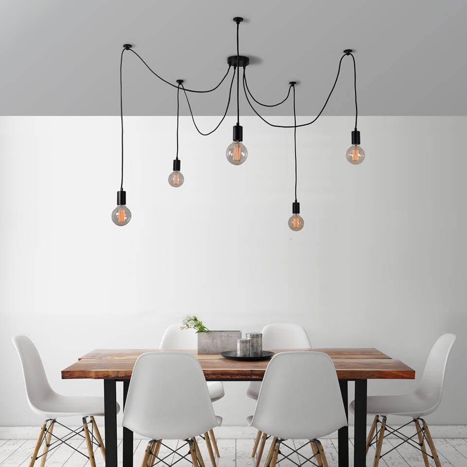 spin lamp met edison lampjes voor een industri le look. Black Bedroom Furniture Sets. Home Design Ideas