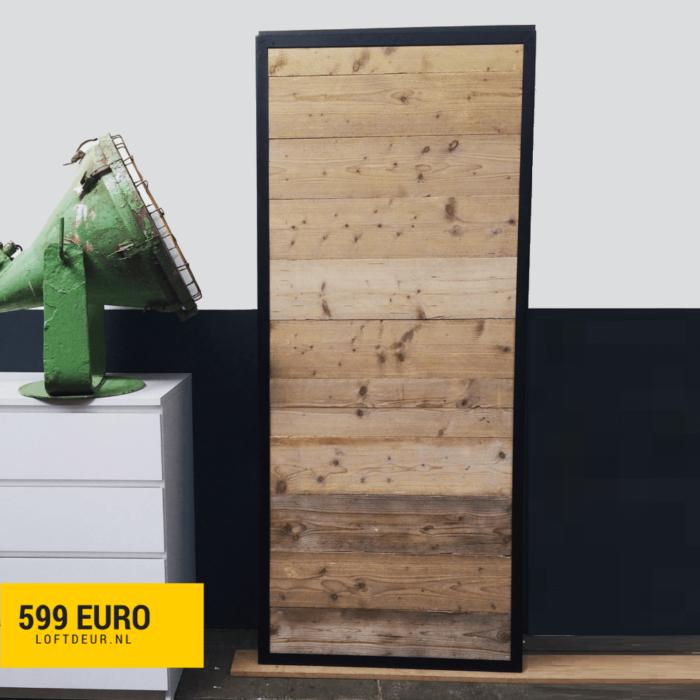 Schuifdeur steigerhout met stalen omlijsting en klassiek schuifdeursysteem