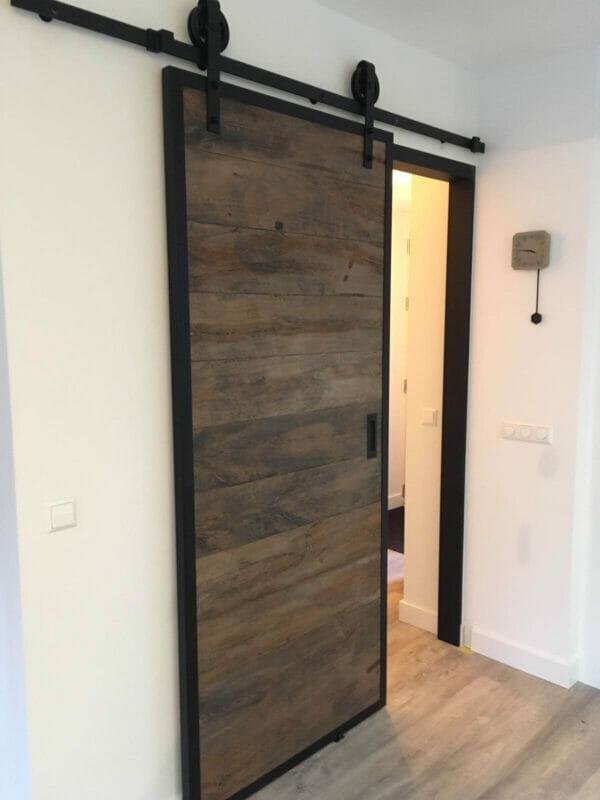 Staal eiken schuifdeur complete set op maat gemaakt - Schuifdeur deur ...