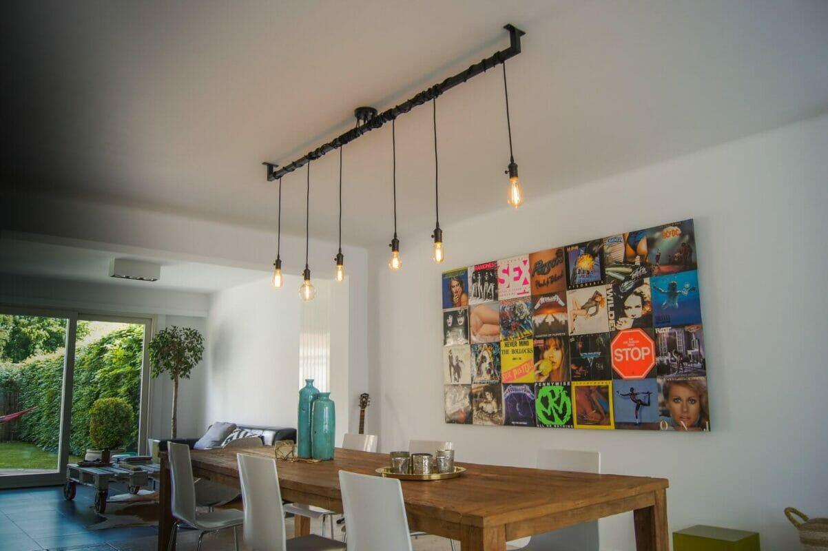 Industriële loftbar als eettafel lamp uniek industrieel design