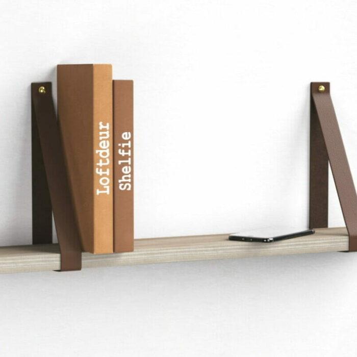 chocolade-bruine-leren-leer-plankdragers-wandplank