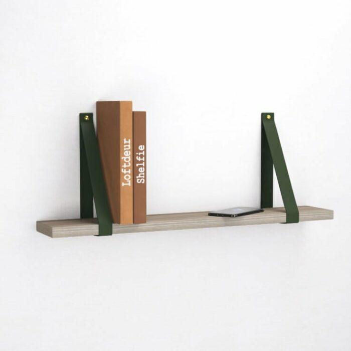 olijf-groene-leren-leer-plankdragers-wandplank