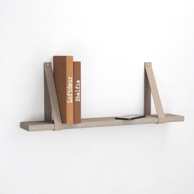 Taupe Leren Plankdragers - Handgemaakt pronkstuk aan iedere muur