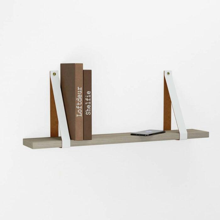 Witte leren - leer plankdragers - wandplank