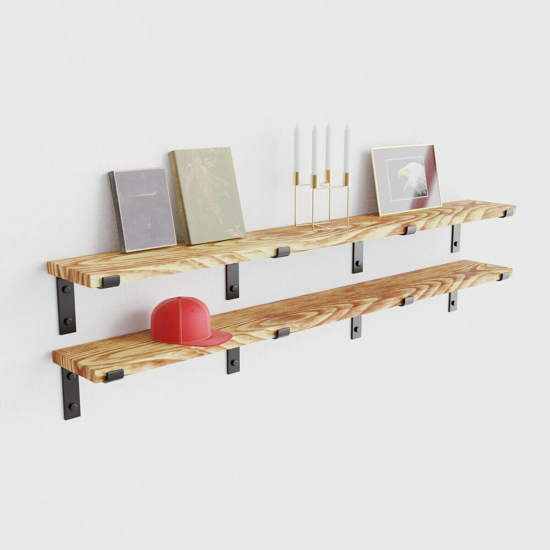 Wandplank Met Stalen Dragers.Stalen Plankdragers