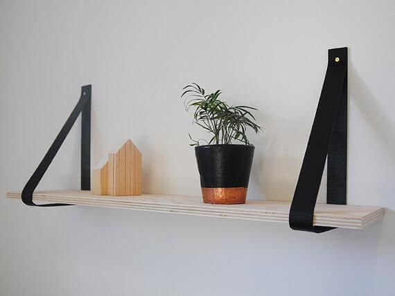 Schapjes Voor Aan De Muur.Leren Plankdragers In Alle Kleuren Unieke Decoratie Voor Aan De Muur