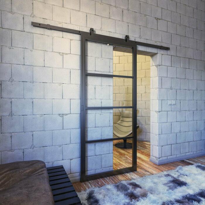 Zwarte stalen schuifdeur met glas